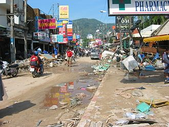 Phuket Province - Patong Beach on Phuket affected by the tsunami disaster of December 2004.