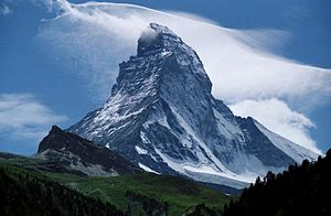 Peak of the Matterhorn, seen from Zermatt, Switzerland.jpg