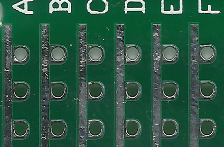 Perf+ prototyping board showing the pad shapes Perf+ prototyping board.png