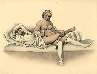 Watercolor of manual stimulation of the penis, Johann Nepomuk Geiger, 1840 PeterJohannNepomukGeigerEroticWatercolor04.jpg