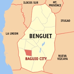 Map of Benguet showing the location of Baguio City
