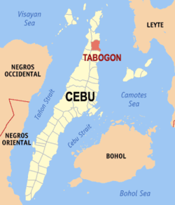 Map of Cebu with Tabogon highlighted