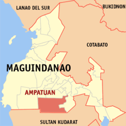 Map of ماگوئنداناؤ showing the location of Ampatuan