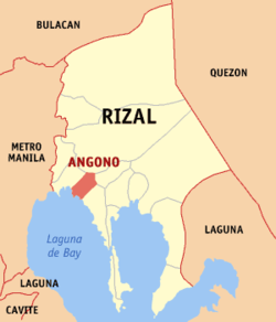 Map of Rizal with Angono highlighted