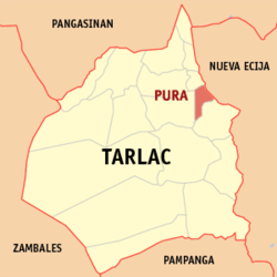Map of Tarlac showing the location of Pura