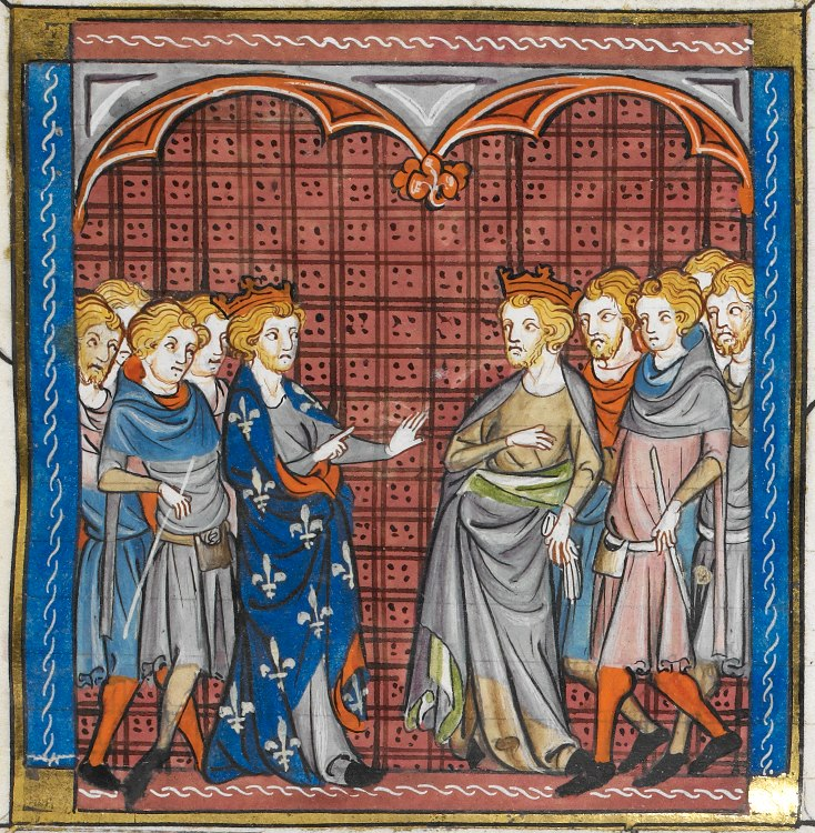 Philip II and Tancred meeting in Messina - British Library Royal MS 16 G vi f350r (detail)