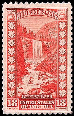 Vernal Fall - US postage stamp erroneously identifying Vernal Fall as Pagsanjan Falls in the Philippines