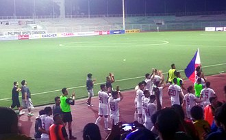 Philippines national football team - Players of the national team celebrating their first qualification ever for the AFC Asian Cup following their 2-1 win over Tajikistan in 27 March 2018.