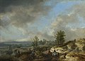 Philips Wouwerman - A Dune Landscape with a River and Many Figures (1660s).jpg
