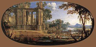 Paysage composé avec ruines antiques
