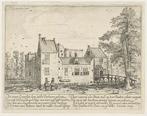 Berkenrode - Historical engraving of the pre-1572 castle by Pieter Saenredam, printed in Samuel Ampzing's Praise of Haarlem, 1628.