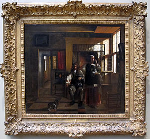 Interior with a Young Couple and a Dog - Image: Pieter de hooch, interno con giovane coppia, 1662 65 ca