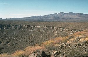 Pinacate Peaks - Crater Elegante with the Pinacate Peaks in the background