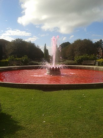 Welwyn Garden City - Parkway fountain dyed pink for National Breast Cancer Awareness Month 2016