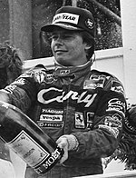 Didier Pironi Pironi celebrating at 1982 Dutch Grand Prix (cropped).jpg