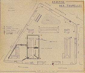 Plan de la caserne des Tourelles, camp d'internement pendant la Seconde Guerre mondiale. - Archives Nationales - F-7-15107 - (1).jpg