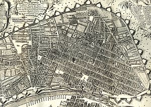 Walls of Lima - Map of the City of the Kings in 1744 which was public in the work of Jorge Juan and Antonio de Ulloa.