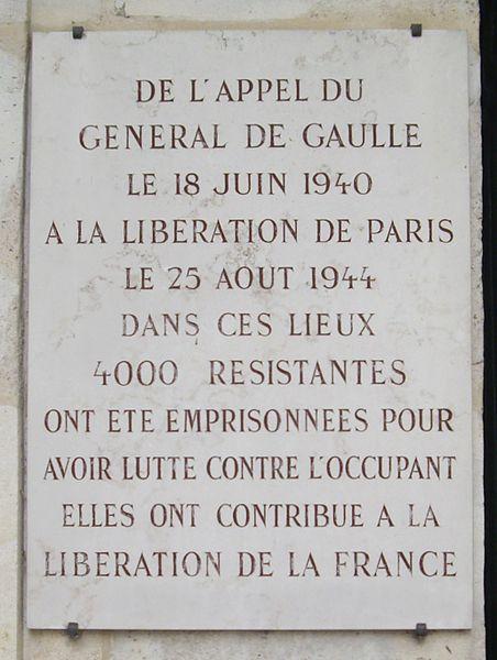 Fichier:Plaque 4000 Résistantes, 168 rue de la Roquette, Paris 11.jpg