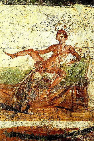 Wall painting from Pompeii depicting cunnilingus Pompeya erotica3.jpg
