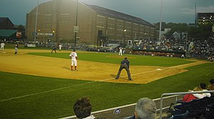 Portland Exposition Building - A May 2007 game at Hadlock Field with the Portland Exposition Building in the background.