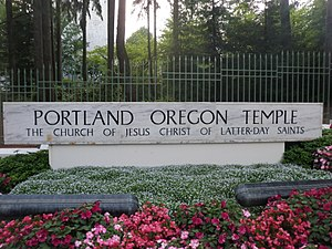 Portland Oregon Temple - Image: Portland Temple Sign