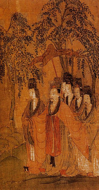 "Cao Zhi - Cao Zhi's full-length portrait on ""Nymph of Luo River"" (or ""Goddess of Luo River"") by Gu Kaizhi of the Jin dynasty (265–420), which illustrates a fu (descriptive poem) of same title written by Cao Zhi."