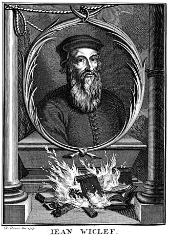 John Wycliffe - Portrait of John Wycliffe showing the burning of his works by Bernard Picart (1714)