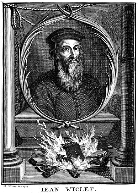 Portrait of John Wycliffe by Bernard Picart, showing the burning of his works (1714) Portrait of John Wycliffe.jpg
