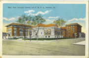 Postcard showing the Elks Club, Carnegie library and YMCA buildings in Danville, Illinois, USA circa 1920