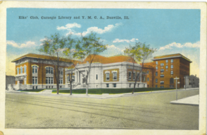 Danville, Illinois - Elks' Club, YMCA, Carnegie Library (now museum) circa 1920