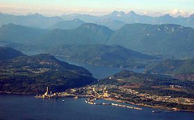 An aerial view of Powell River in 2004