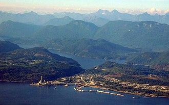 Concrete ship - Image: Powell River Aerial 2004