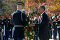 President Barack H. Obama, right, lays a wreath at the Tomb of the Unknowns at Arlington National Cemetery in Arlington, Va., in honor of Veterans Day Nov. 11, 2013 131111-A-VS818-200.jpg