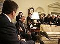 President George W. Bush gestures to Bulgarian President Georgi Purvanov.jpg