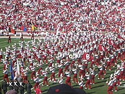 The Pride of Oklahoma Marching Band performs during half-time at football games.