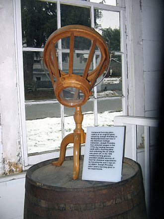 Glossary of firelighting - A replica (on a smaller scale) of the burning lens owned by Joseph Priestley, in his laboratory