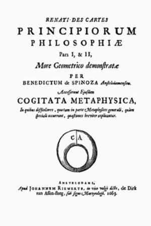 Principia philosophiae cartesianae - First edition title page, Published in 1663.