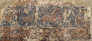 Profane paintings from Sigena: Deer eating fruit from a tree, lion holding a naked man and dismounted knight kneeling before a lady on a throne