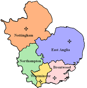 Map of the Ecclesiastical Province of Westminster