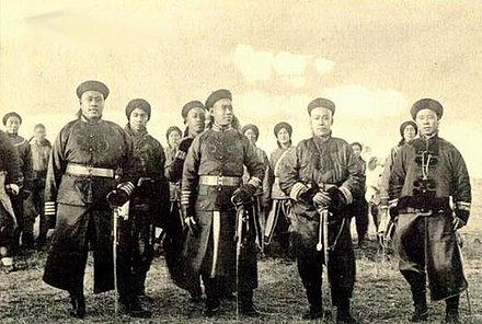 Qing imperial soldiers during the Boxer Rebellion Qing Imperial Army.jpg