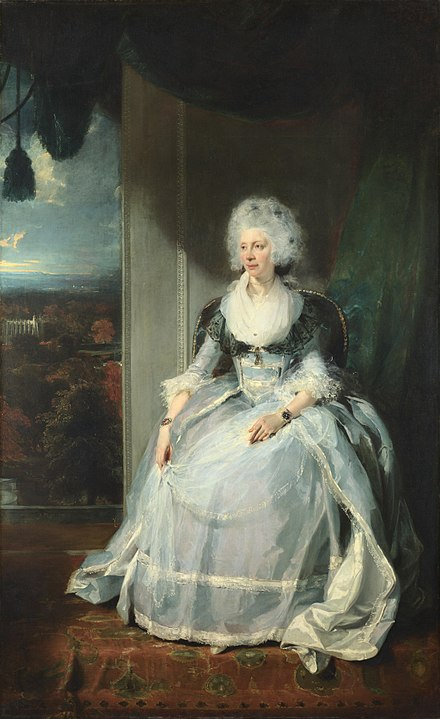 "Charlotte sat for Sir Thomas Lawrence in September 1789. His portrait of her was exhibited at the Royal Academy the following year. Reviewers thought it ""a strong likeness"". Queen Charlotte by Sir Thomas Lawrence 1789.jpg"