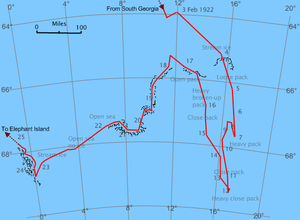 Chart of an area of sea in which an irregular line shows the passage of Quest