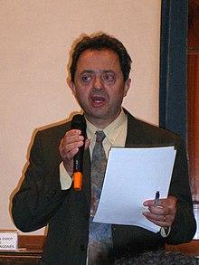 Quino Villa en a presentación de l'Academia de l'Aragonés en a Universidat de Zaragoza