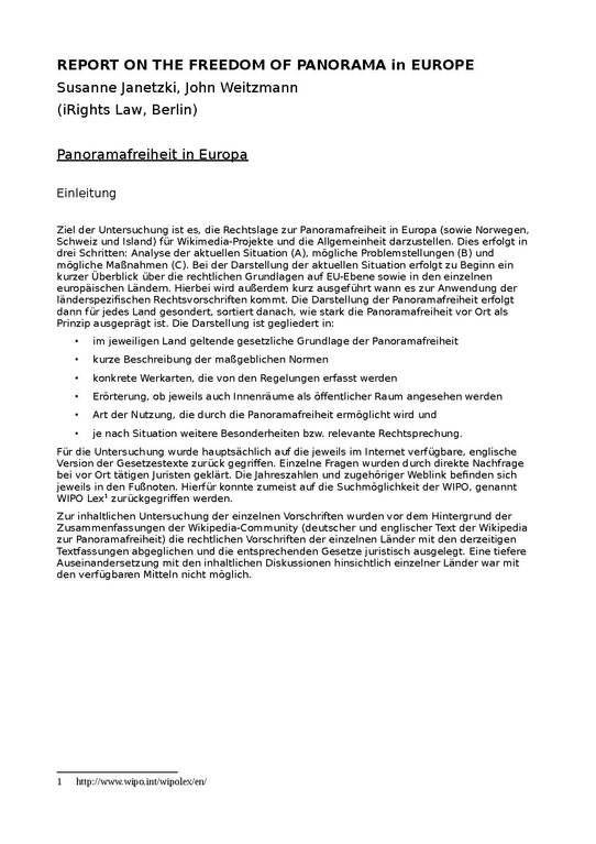 File Report On The Freedom Of Panorama In Europe By Irights Berlin Pdf