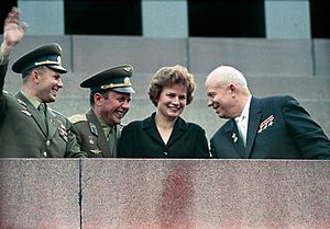 Valentina Tereshkova - From left to right: Yuri Gagarin, Pavel Popovich, Valentina Tereshkova, and Nikita Khrushchev at the Lenin Mausoleum, during a celebration honoring the Soviet cosmonauts, 1963