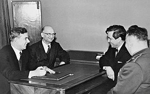 Vladimir Semichastny - September 1964.Vladimir Semichastny, Chairman of the KGB (first from left), talking to Soviet intelligence officers Rudolf Abel (second from left) and Konon Molody (second from right) in  1964