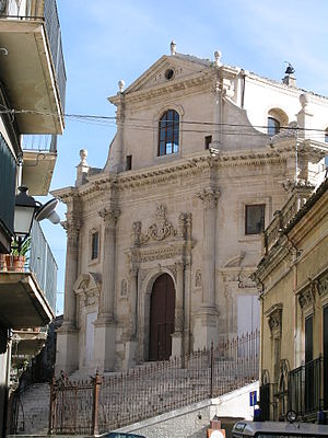 Cant (architecture) - The canted facade of The Church Of Anime Ss. Del Purgatorio, Ragusa, the extremities of the facade are angled (canted) back from the centre