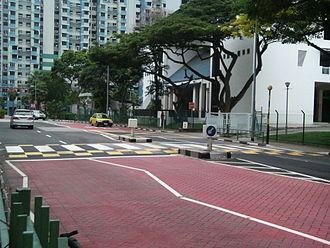 Zebra crossing - A raised zebra crossing in a school zone in Marine Parade, Singapore