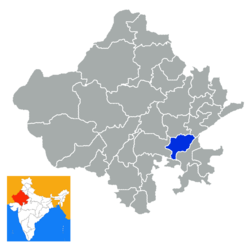 Location of Bundi district in Rajasthan