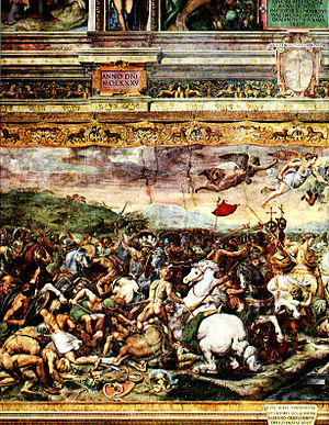 Campaign history of the Roman military - The Battle of the Milvian Bridge by Giulio Romano (1499–1546)